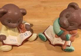 Hand Painted Ceramic Bear Book Ends