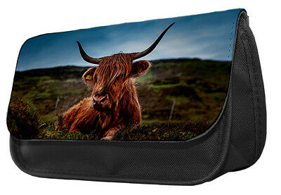 Highland Cow Pencil Case / Make up bag 031 kids school college gift idea