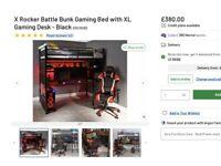 Gamer loft bunk bed single EXCELLENT CONDITION