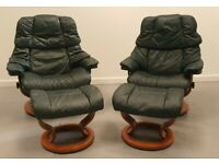 Ekornes Stressless 2 x swivel recliner leather chairs and Stools Green 89200