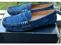 Authentic Ralph Lauren Wes navy blue suede driver moccasins boat deck shoes UK7 RRP £119