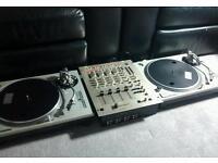 Technics 1200 MK2 pair and analogue Vestax PMC55 DJ mixer
