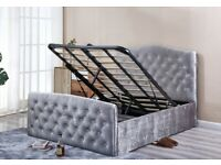 🔴🔵 WONDERFULL DESIGNER BED 💰 ONLY KING SIZE SILVER CV WITH DIAMONDS ON HEADBOARD ONLY 299GBP
