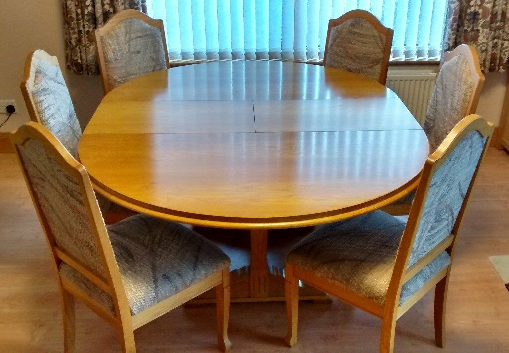 Extending Dining Table 6 Chairs And Matching Sideboard