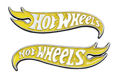 "5"" Chrome & Yellow Hot Wheels Flames Emblem Hot Rod, Mustang, Camaro"