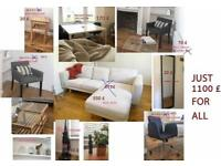 Almost new IKEA furniture with 30% discount, sofa, armchairs, office chairs, table and more