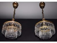 VINTAGE PAIR OF SIMILAR FRENCH 2 TIER WATERFALL CIRCULAR CEILING LIGHTS Ref: GDC4