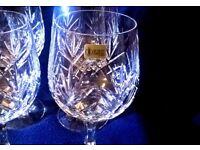 "SCHOTT- ZWIESEL CRYSTAL ""TIFFANY"" CUT WINE GLASSES / GOBLETS SET OF 6"