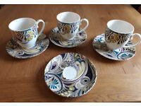 DENBY 'MONSOON, COSMIC' 3 X LARGE MUGS/CUPS and 4 X SAUCERS. Ex.cond.