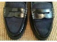 Massimo Dutti black leather loafers ladies size 40