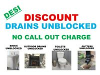 DISCOUNT DRAINS UNBLOCKED SERVICES - TOILET REPAIR INSTALL- NO CALL OUT CHARGE -