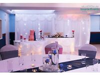 Event Decor package 0.80p per cover & Sash DIY & £1.80 for full set up. Package for 100 guests £400