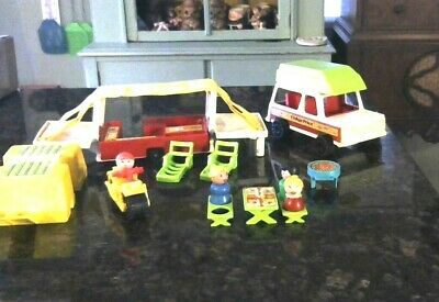 "Rare Old Vintage Fisher Price Play Family car & Camper # 992 15 1/2"" Long 1980"