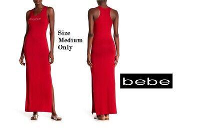 bebe size Medium Ribbed Knit Rhinestone Logo Maxi Dress in Chili Pepper Red, NWT