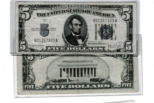1934 series $5 silver certificate lot of 1 each new holder
