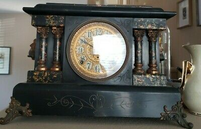 Working Antique Seth Thomas Adamantine Mantle Clock, circa early 1900's