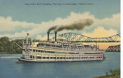 Clinton Iowa Mississippi River Excursion Boat Postcard 1936