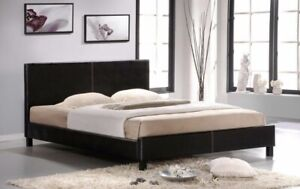 Leather Bed With organic foam mattress Queen Size