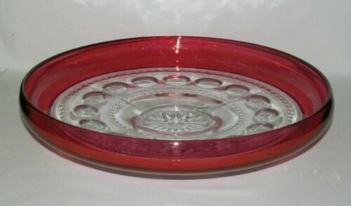 U.S. Glass KINGS CROWN Ruby Stained Large Low Flower Floater Bowl