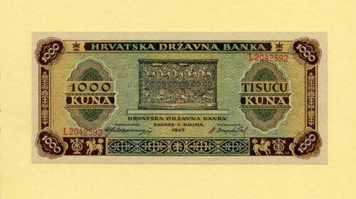 CROATIA KINGDOM, WWII 1000 KUNA 1943 P-12a GOVERNMENT NOTES UNC