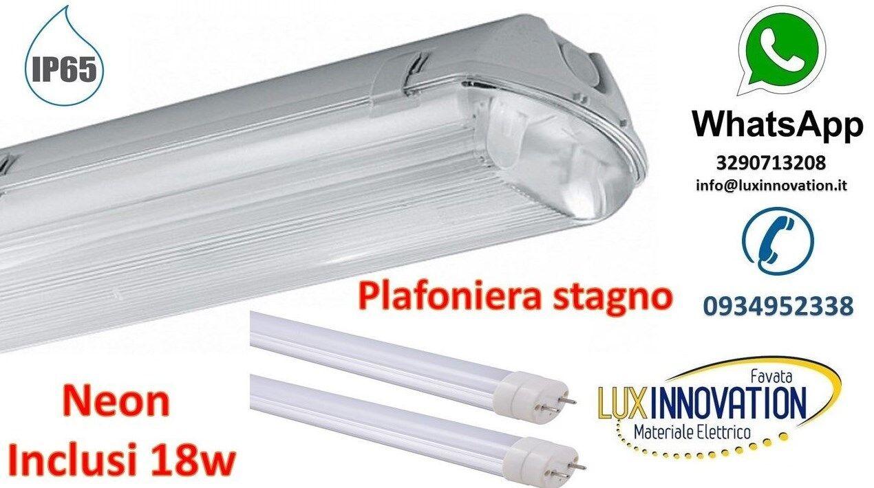 PLAFONIERA STAGNO 2X36 PER ILLUMINAZIONE ESTERNA GARAGE UFFICI IP65 CON NEON LED