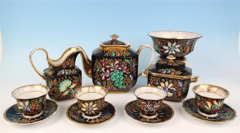 Rare Darte Freres Tea Set Floral & Cabochon Jewels French Porcelain Old Paris