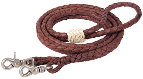 """Western Brown Leather Softy Braided  Roping Reins 96"""" Long with Trigger Snap"""