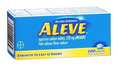 ALEVE NAPROXEN SODIUM 220 mg (NSAID) 200 CAPLETS PAIN RELIEVER EXP 2020