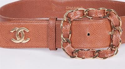 CHANEL Womens Brown Tan Caviar VINTAGE Leather GOLD CC Logo Chain Belt 65/26 XS