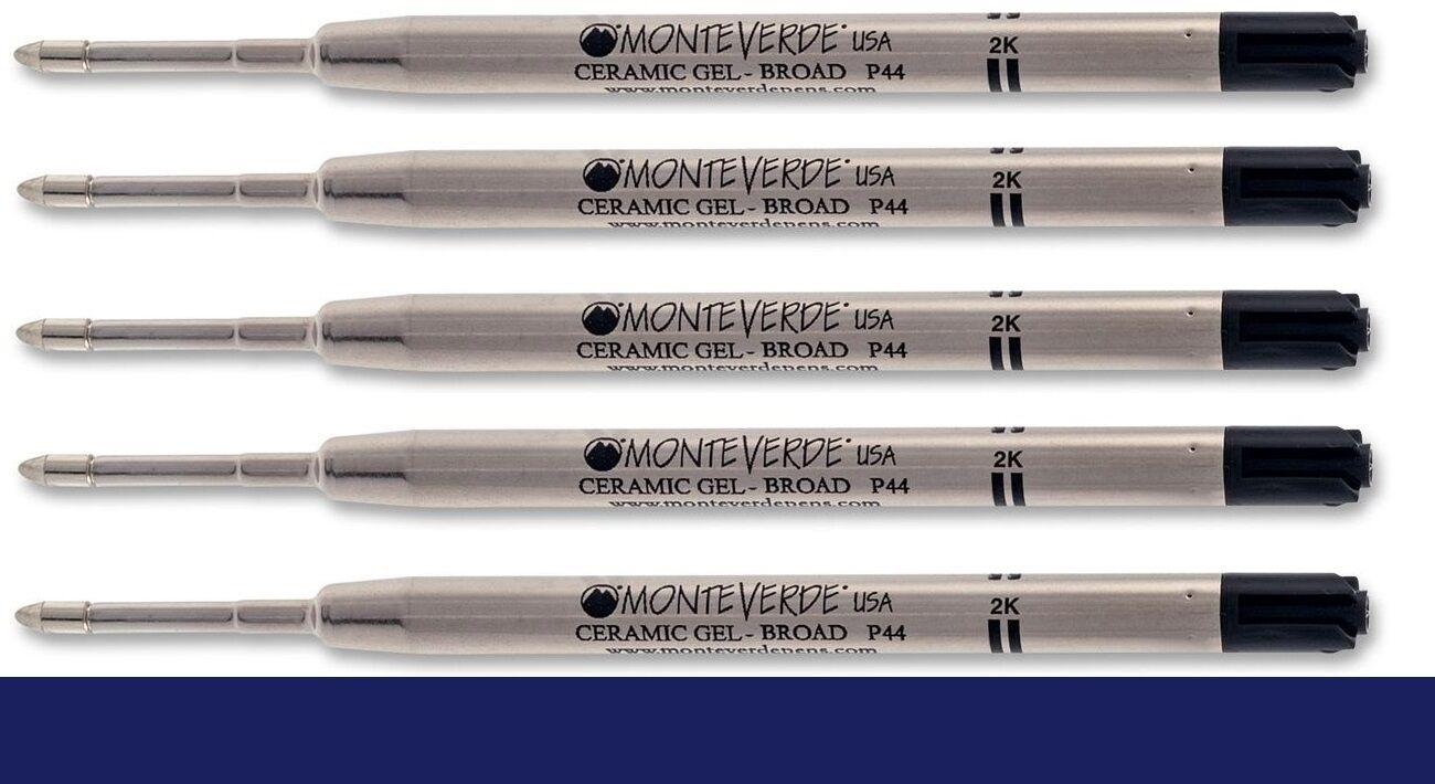 5 – MONTEVERDE Ballpoint Parker Style GEL Pen Refill – BROAD / BOLD – DARK BLUE Collectibles