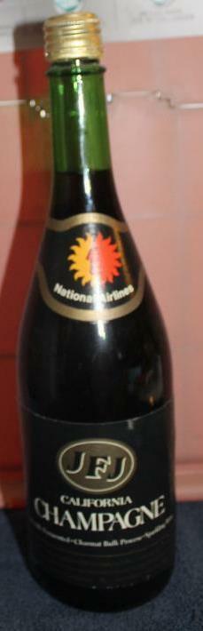Vintage National Airlines Promotional Item JFJ California Champagne Bottle