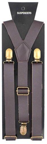 "New Punk Cofee Brown Pu Faux Leather Vintage Suspenders  1 "" Wide"