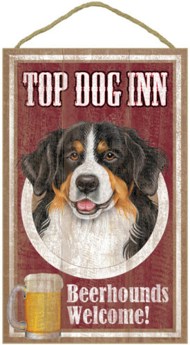 "Top Dog Inn Beerhounds Bernese Mountain Bar Sign Plaque dog pet 10"" x 16"" Beer"