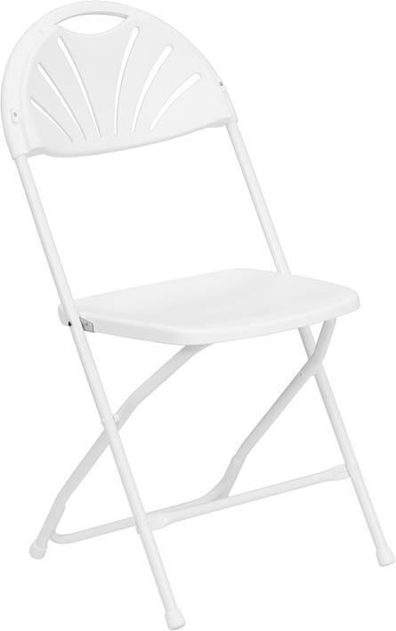 Hercules Series 650 Lb. Capacity White Plastic Fan Back Folding Chair