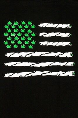 Mens Green Marijuana Leaf American Flag Tee Joint Weed 100  Cotton T Shirt