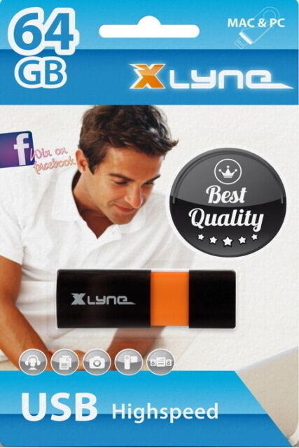 Xlyne USB Stick 64GB Speicherstick Wave schwarz mit Kappe USB 2.0