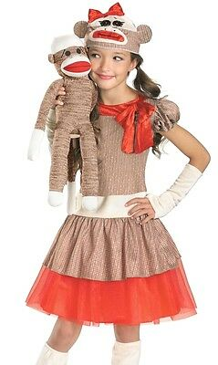Sock Monkey Costume Dress Girls Teen Tween Child SockMonkey S 4-6 M 7-8 L 10-12 (Monkey Costumes For Girls)