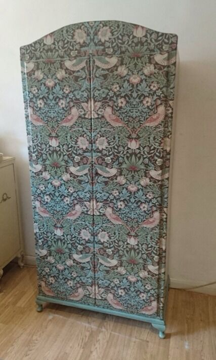 Wardrobe Covered In William Morris Wallpaper By Phew