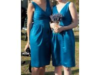 Teal colour, mid-length Bridesmaid dresses with sash (Size 8)