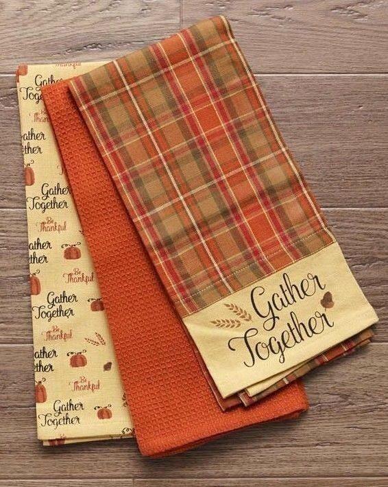 GATHER TOGETHER Pumpkin Kitchen Tea Hand Towels Set of 3 Pri