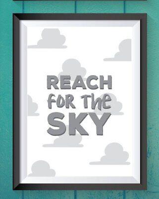 Toy story prints home decor - reach for the sky - movie quote - grey A4 Print - Sky Home Decor