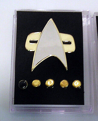 Star Trek Deep Space 9/Voyager Metal Communicator Pin & Rank Pip Set of 6 w Box