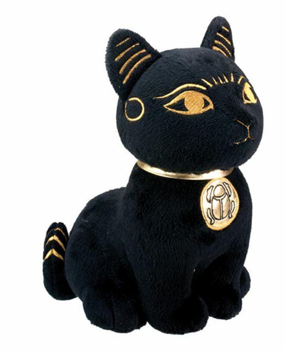 Ancient Egyptian Black and Gold Bastet Cat Stuffed Animal Plush