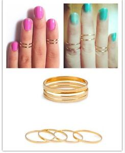 retro 5PC/Set Rings Urban Gold stack Plain Cute Above Knuckle Band Midi Ring
