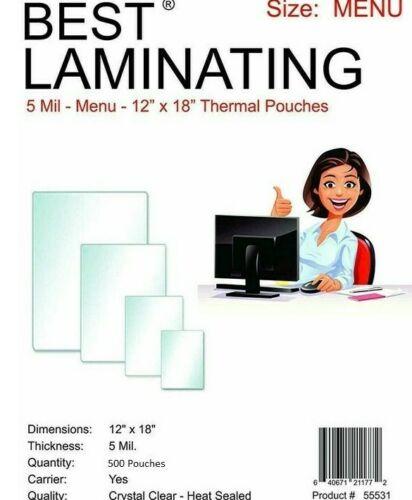 "Best Laminating 5 MiL Menu Laminating Pouches - 9"" X 11.5"", 500/Pack"