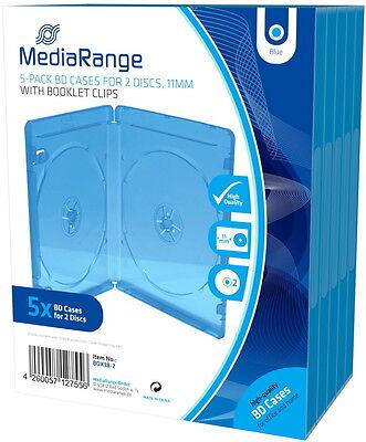 10 Mediarange Blu-ray Hüllen 2er Box 11 mm für je 2 BD / CD / DVD blau