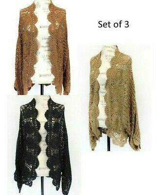 Colleen Lopez HSN Crochet Open Front Cardigan Shrug set of 3