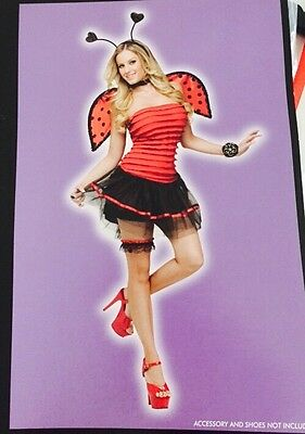 Lady Bug Women's Halloween Costume Size S/ M 4-8 Black & Red Striped Retail $40
