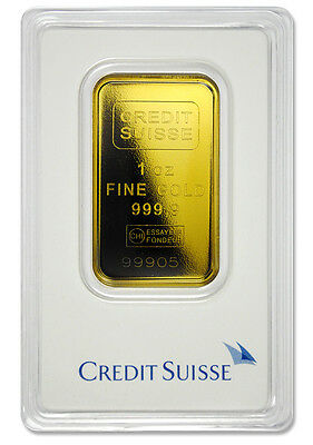 Credit Suisse 1 Troy Oz  9999 Gold Bar   Sealed   Type 2 Plastic Case Sku26782
