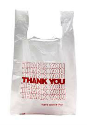 Thank You T-shirt Bags 10 X 6 X 21 White Plastic Shopping Bags